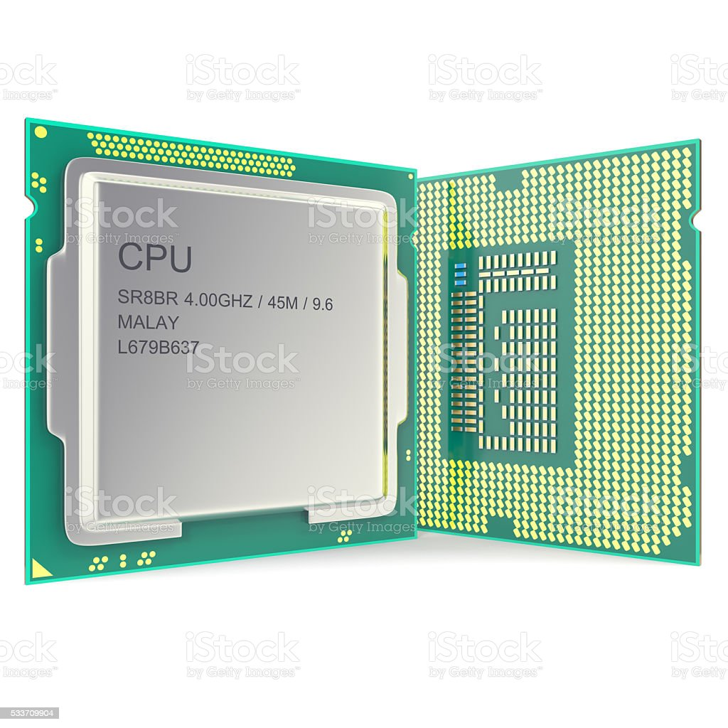Modern multicore CPU isolated on white background. 3d illustration stock photo