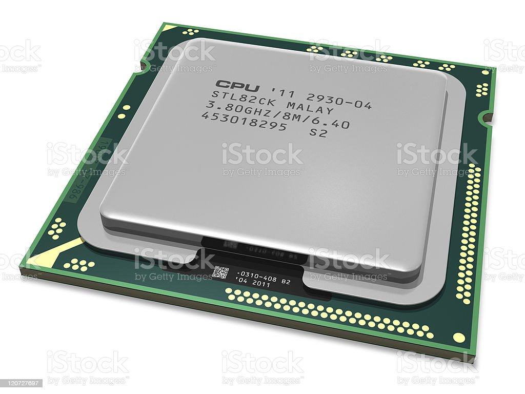 Modern multicore CPU on a white background royalty-free stock photo