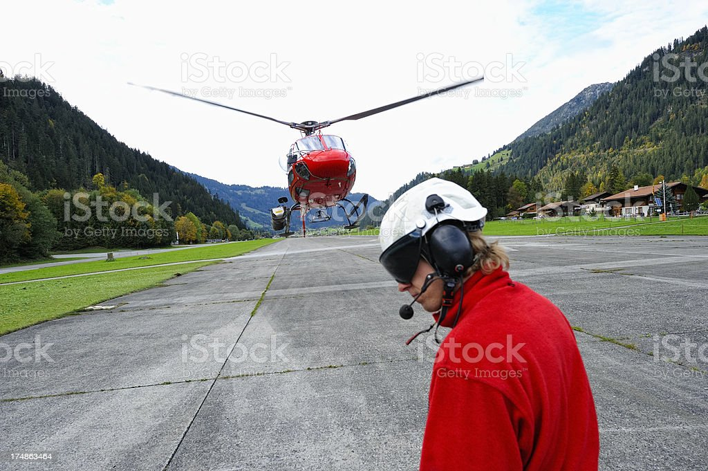 Modern Multi-purpose Helicopter Landing at Airfield royalty-free stock photo