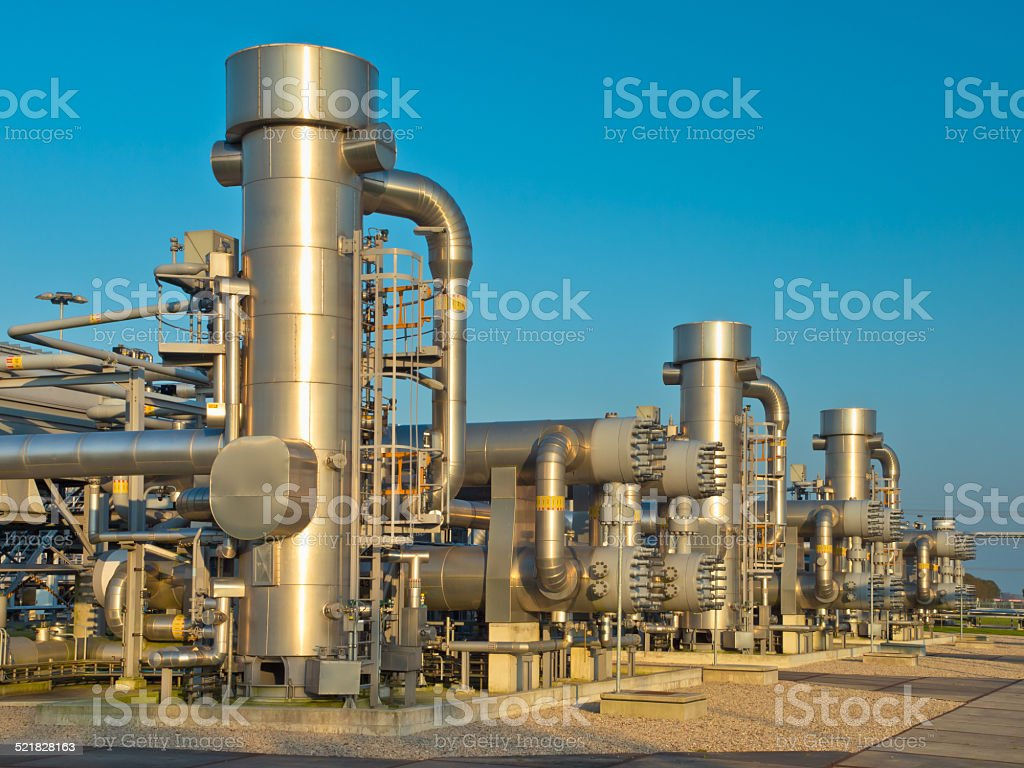 modern natural gas processing plant stock photo