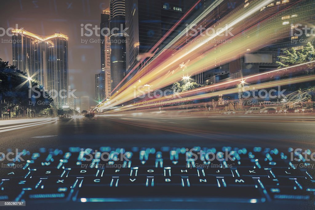 modern network concept with laptop keyboard stock photo