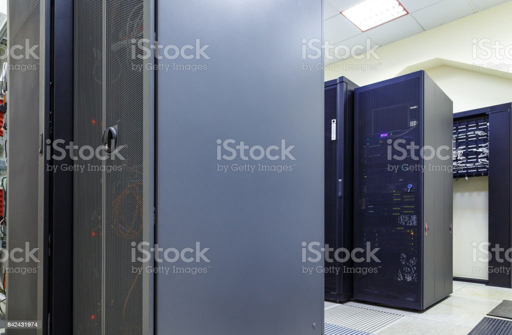 Modern network server room with computers for digital tv ip communications and internet stock photo