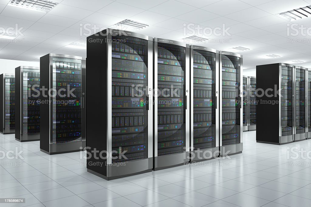 Modern network servers in a datacenter stock photo