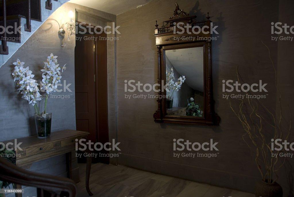 Modern neutral hallway, flower on table, Turkey, Istanbul, Beykoz royalty-free stock photo