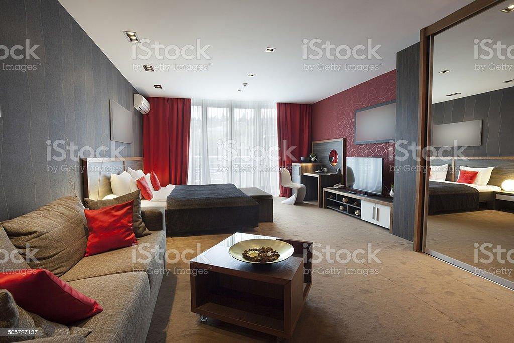 Modern no walls apartment interior stock photo