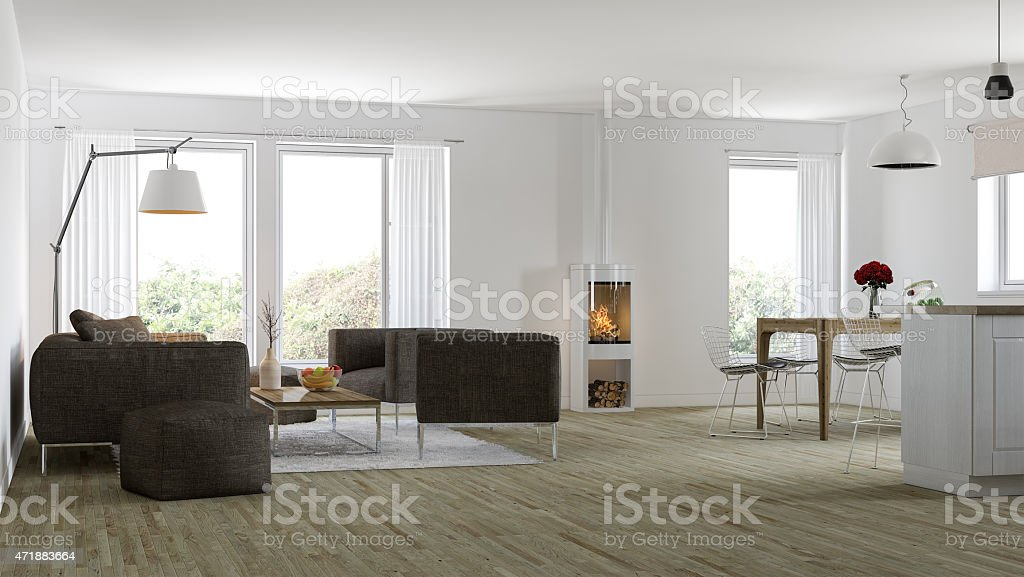 Modern Nordic interior stock photo
