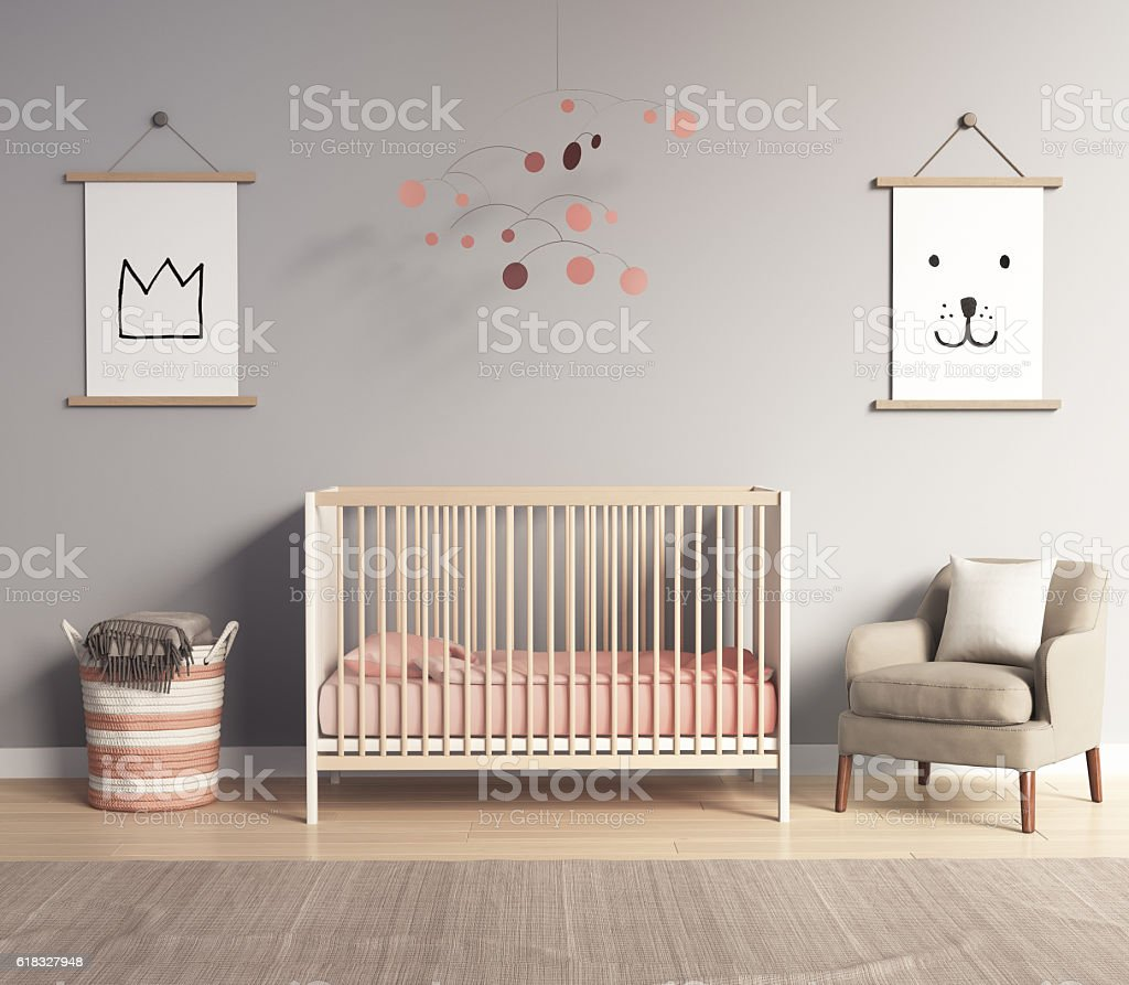 Modern nursery room with salmon red and greyaccents stock photo