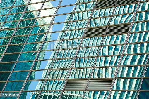 Modern Office Architecture At Blue Glass Curtain Wall Backgrounds ...