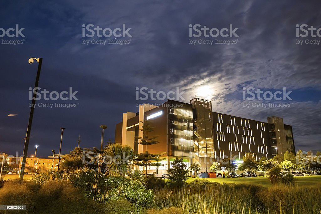 Modern office at night stock photo