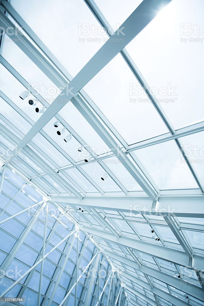 Modern office blue glass ceiling wall royalty-free stock photo