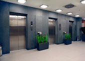 modern office building and elevators