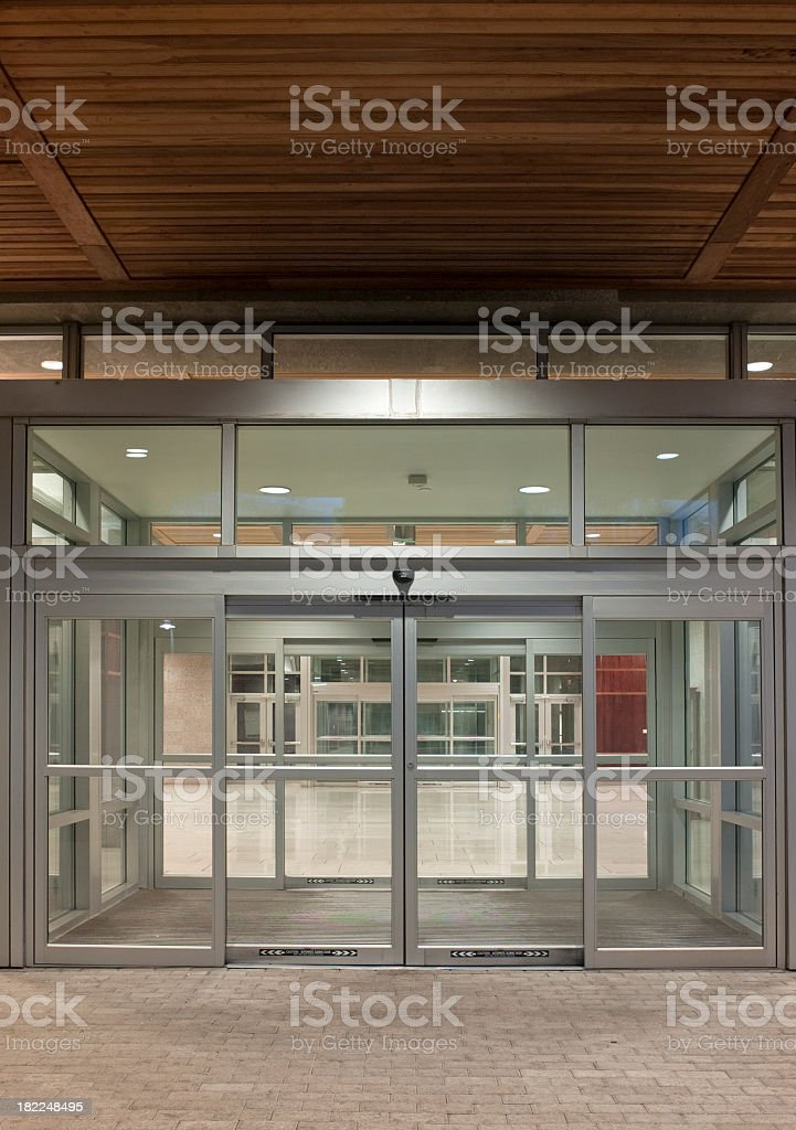 A modern office building entrance stock photo