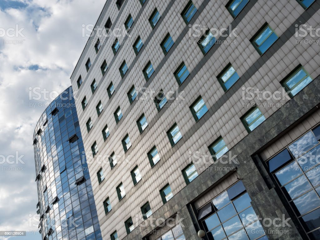 Modern office building exterior, low angle view stock photo