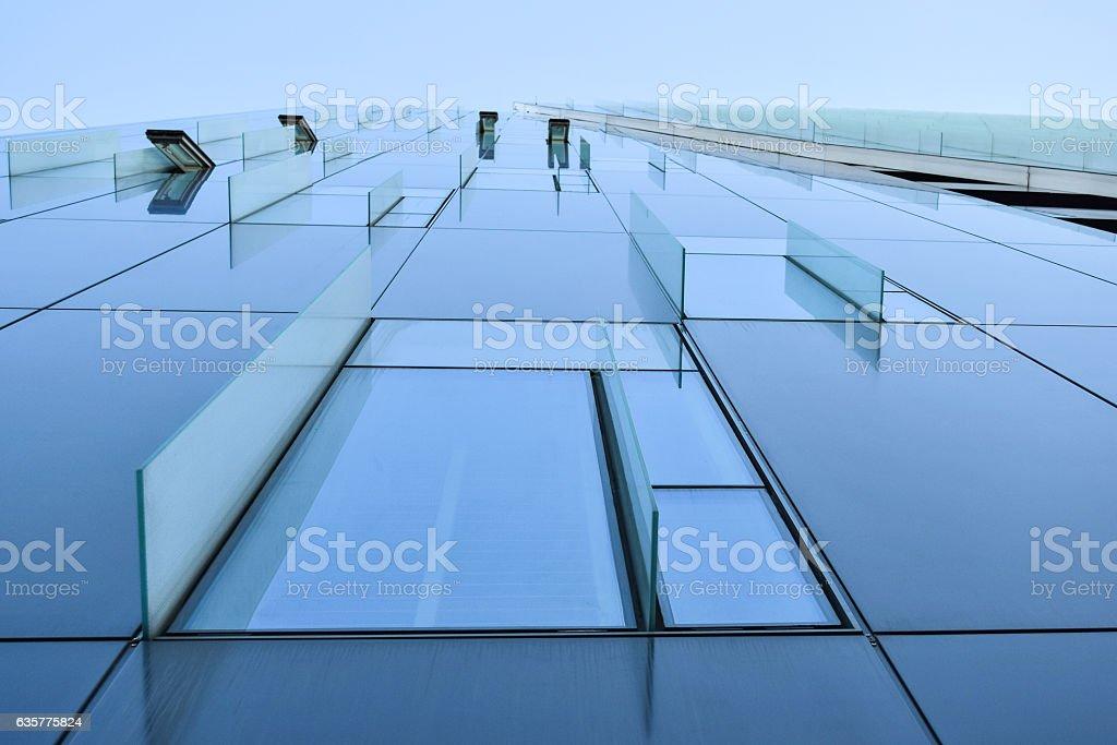 Modern office building glass facade, skyscraper window stock photo