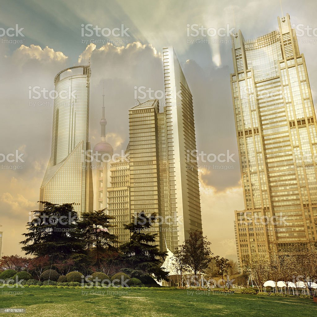 modern office building in dusk of shanghai china. stock photo