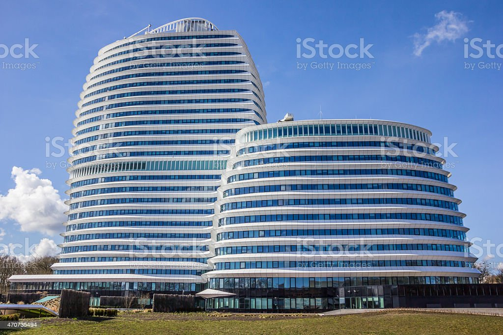 Modern office building of the dutch tax authorities in Groningen stock photo
