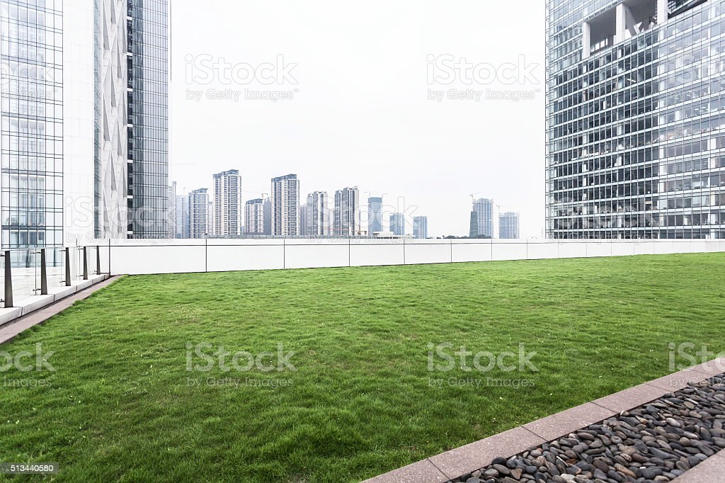 Modern office building rooftop stock photo