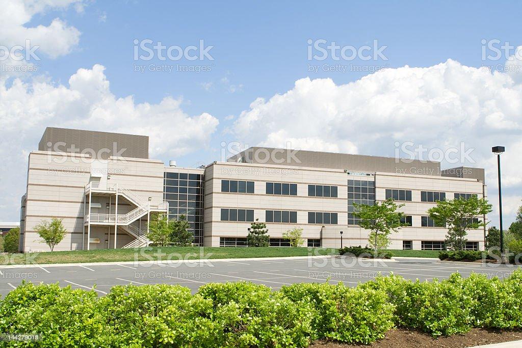 Modern Office Building Suburban Maryland Parking Lot Blue Sky royalty-free stock photo