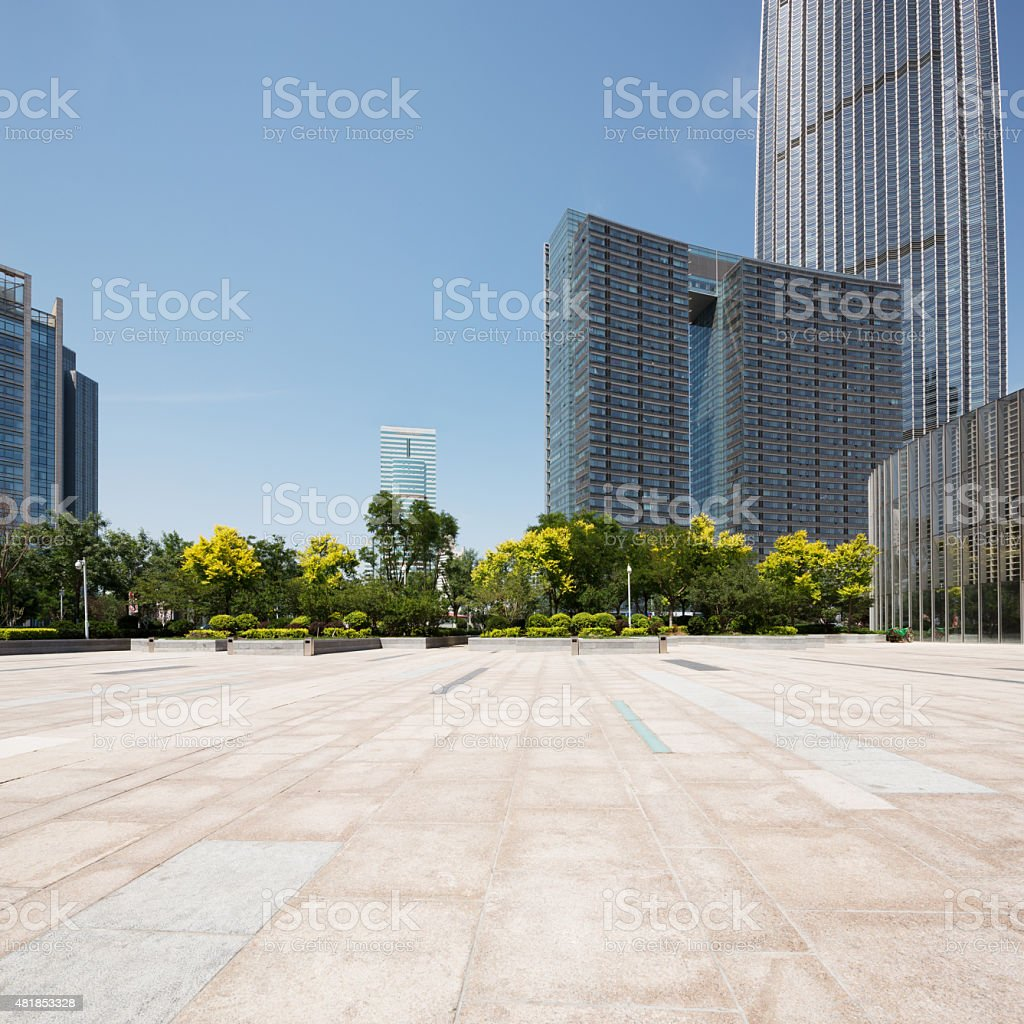 modern office building with empty square stock photo