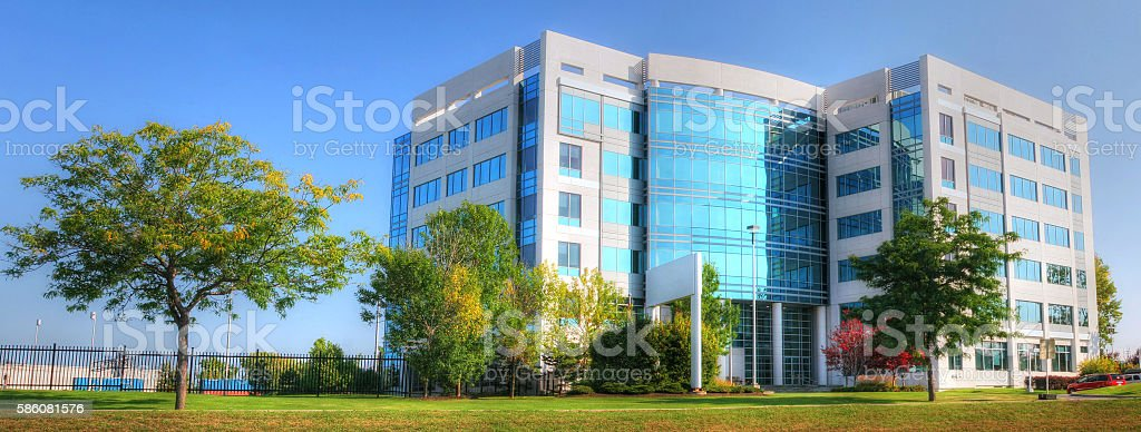 Modern Office Building with Trees stock photo