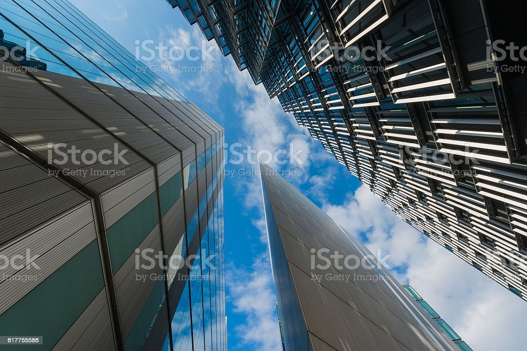 Modern office buildings against a blue sky background stock photo