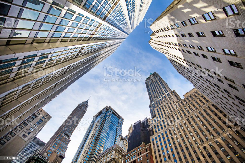 Modern office buildings against sky stock photo