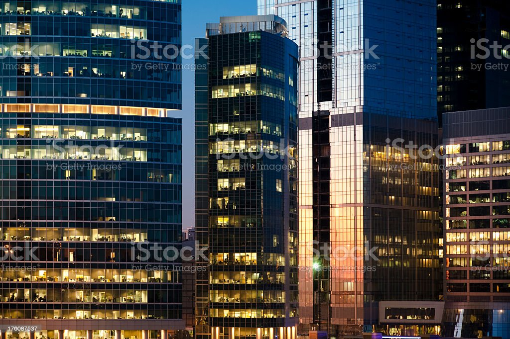 Modern Office Buildings at dusk royalty-free stock photo