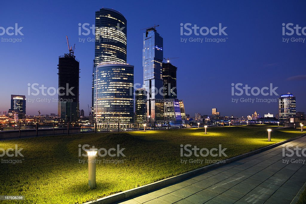 Modern Office Buildings at night royalty-free stock photo