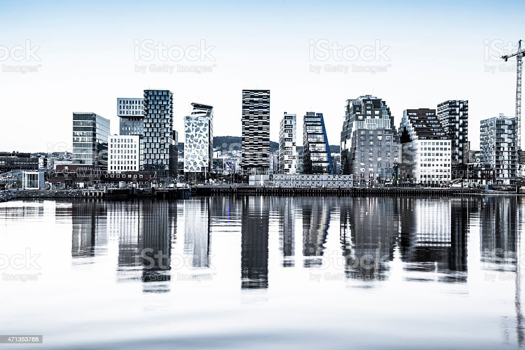 Modern office buildings in Oslo stock photo