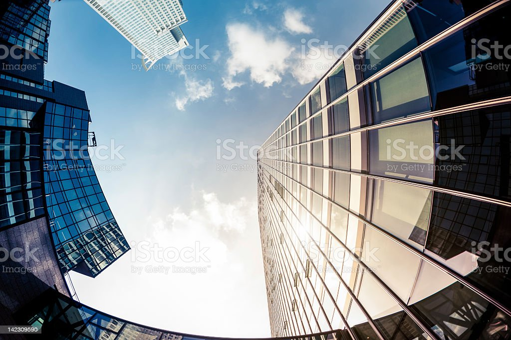 Modern Office Buildings taken with fisheye lens royalty-free stock photo