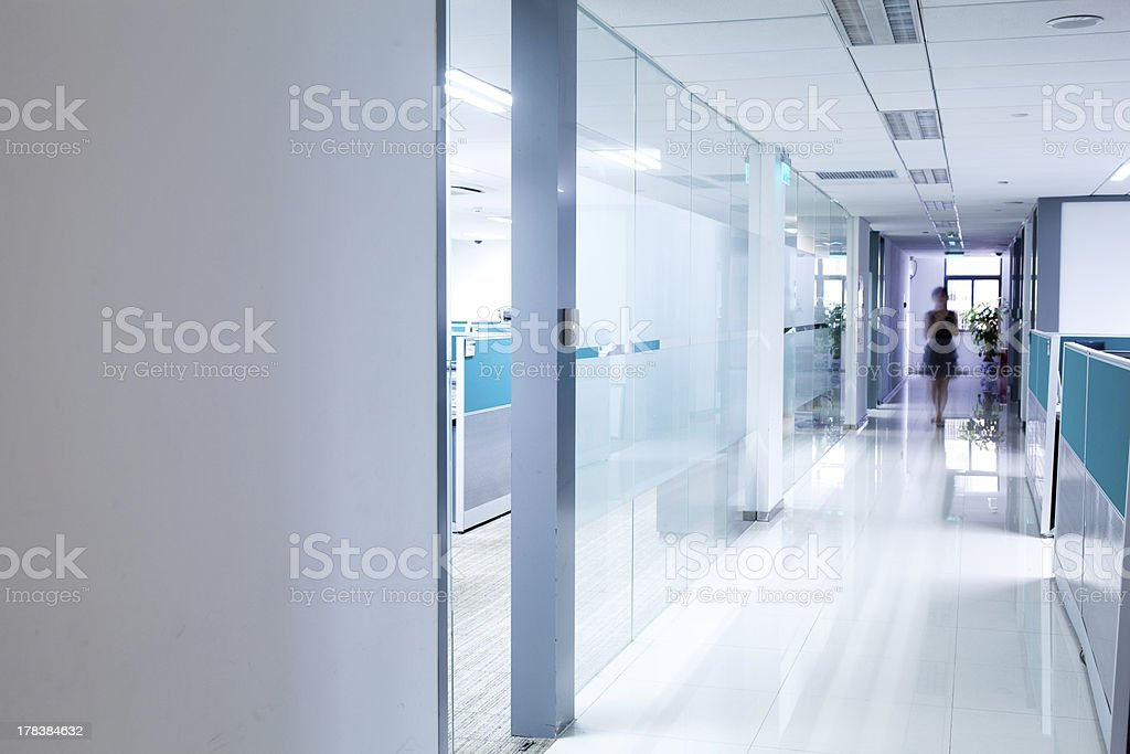 Modern office corridor stock photo