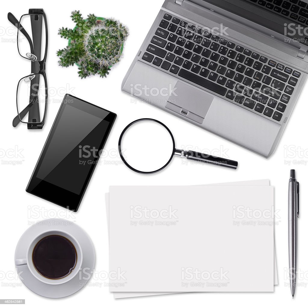 Modern office desk supplies isolated on white stock photo