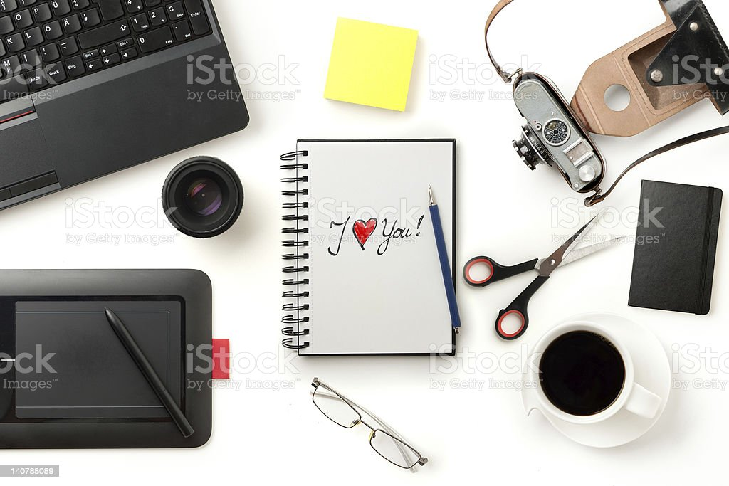 modern office desktop royalty-free stock photo