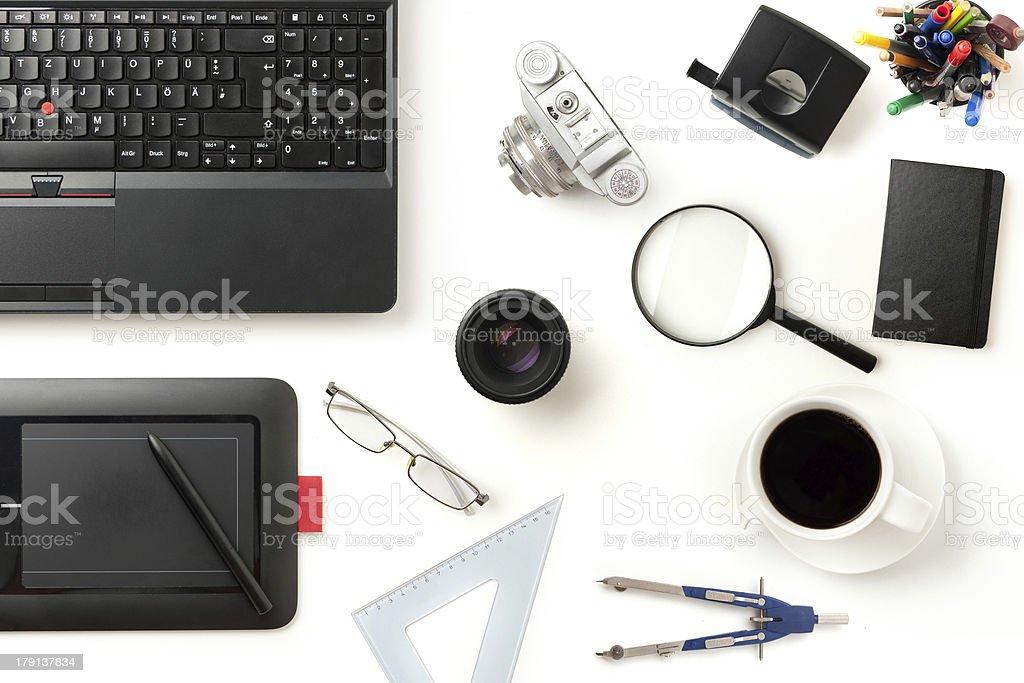 modern office desktop stock photo