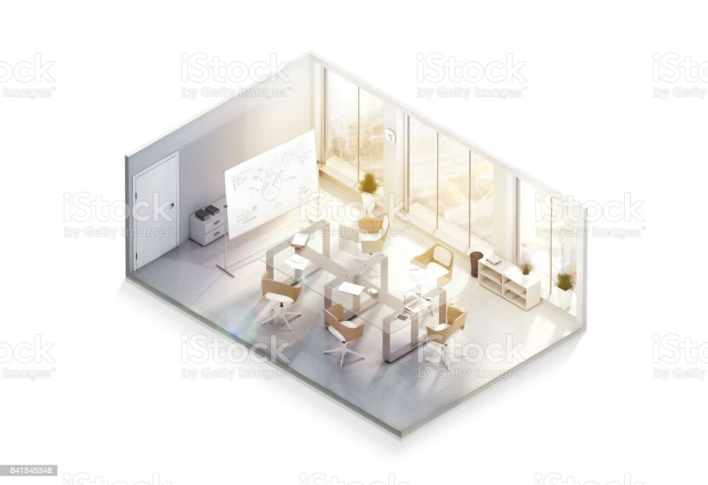 Modern office interior design mockup, isometric view stock photo