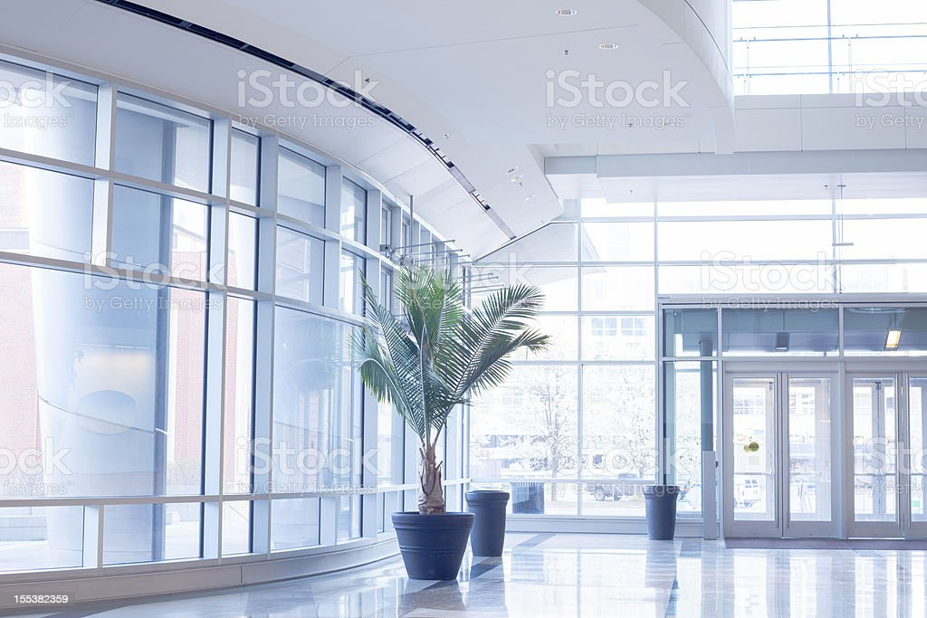 Modern office lobby with glass wall stock photo