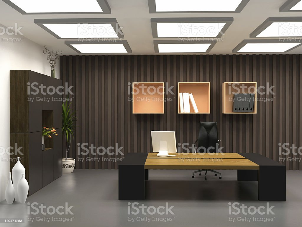 A modern office with a desk, computer and chair royalty-free stock photo