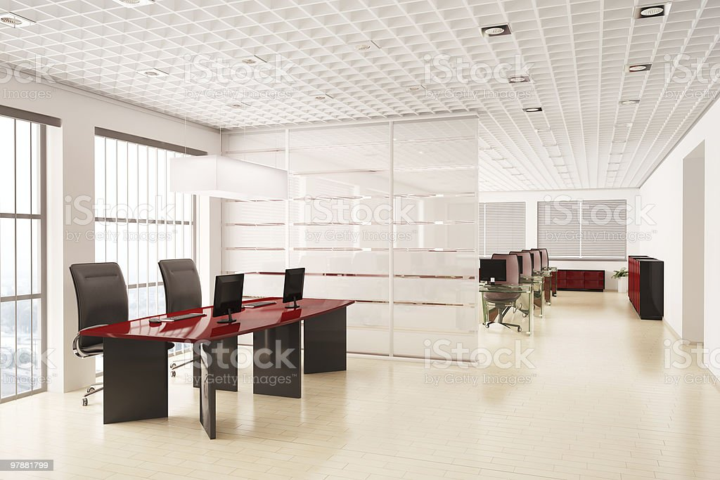 Modern office with computers interior 3d stock photo