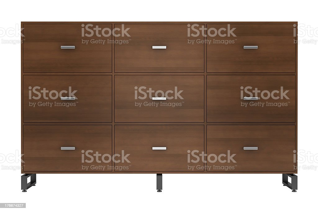 modern office wooden cabinet isolated on white background stock photo