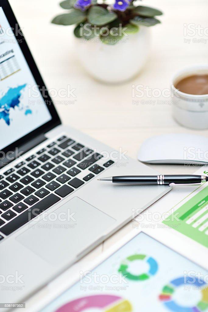 Modern office workplace stock photo