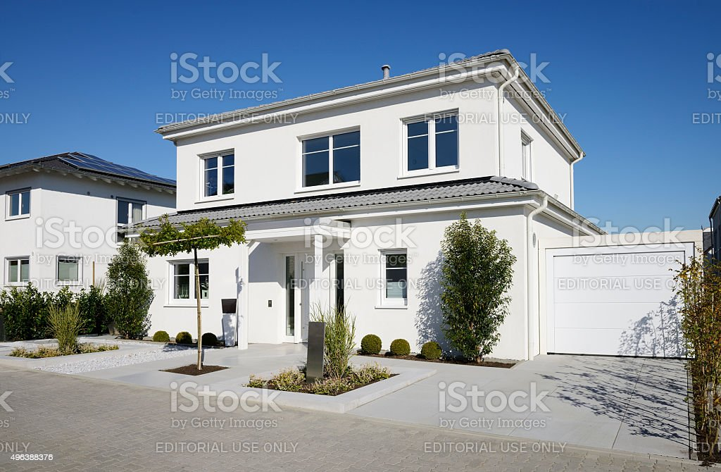 Modern one family house with garage stock photo