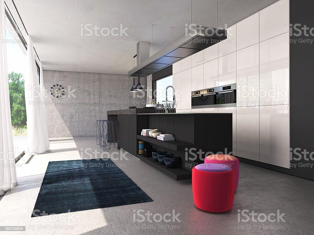 modern open kitchen royalty-free stock photo