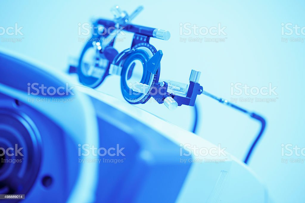 Modern optometrists equipment    Ophthalmic clinic   At the optician   Ophthalmology stock photo
