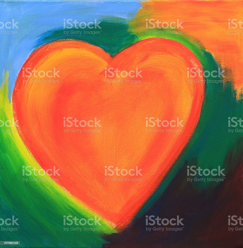 Modern orange heart royalty-free stock photo