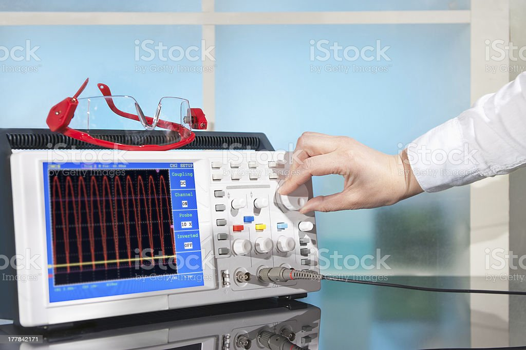 Modern oscilloscope stock photo