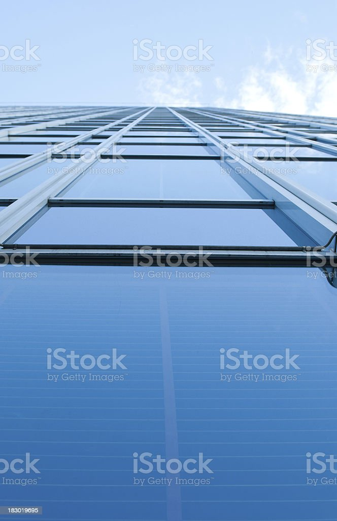 modern oslo skyscraper reflecting in facade, wide angle view stock photo