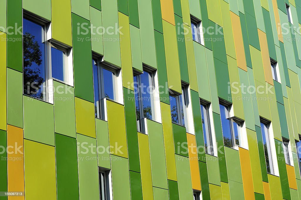 Modern panel  facade of a building with windows royalty-free stock photo