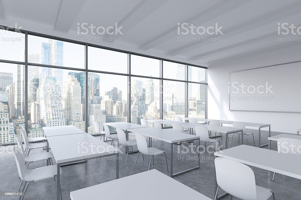 modern panoramic classroom with New York view stock photo