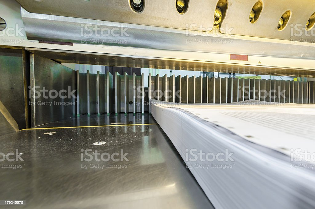 modern paper guillotine in commercial printing industry stock photo