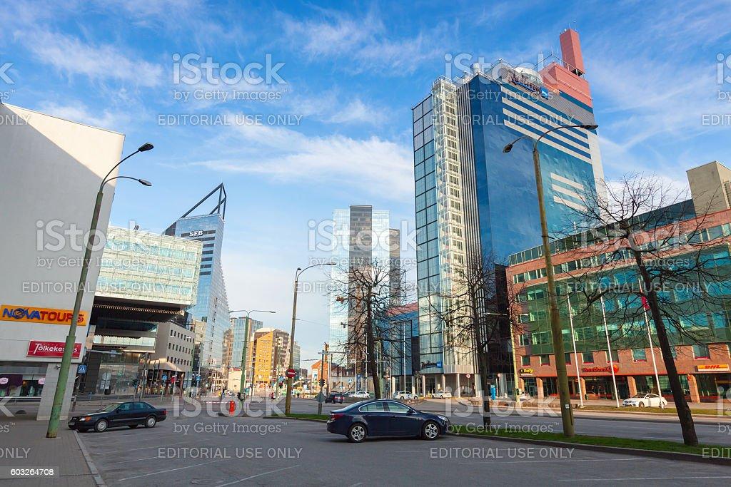 Modern part of Tallinn city. Street view stock photo